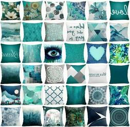 cushion cover teal blue white double sided