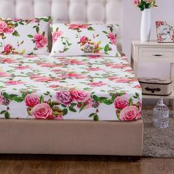 DaDa Bedding Romantic Roses Cotton Fitted Bed Sheet Pink Flo