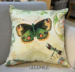 Decorative Velvet Pillow Cushion Cover Butterfly and Dragonf