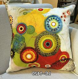 Decorative Velvet Pillow Cushion Cover Circles with Color Pi