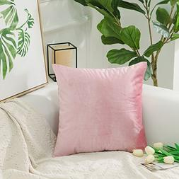 HOME BRILLIANT Deluxe Solid Velvet Europe Throw Pillow Cover