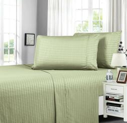 Diamond Embossed Collection 4-Piece Bed Sheet & Pillowcase S