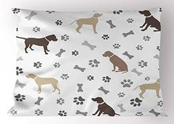 Ambesonne Dog Lover Pillow Sham, Paw Print Bones and Dog Sil