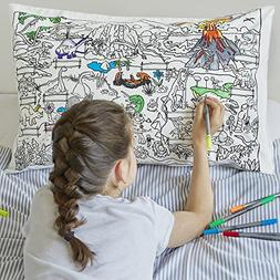 Doodle Dinosaur Pillowcase, Color Your Own Pillow Case, Colo