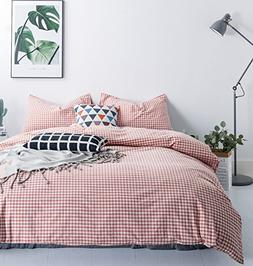 SUSYBAO 3 Pieces Duvet Cover Set 100% Washed Cotton King Siz