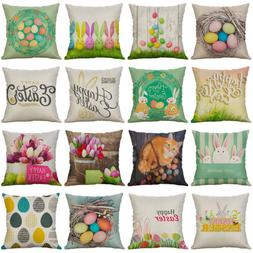 Easter egg Pattern Cotton Linen Cushion Cover Throw Pillow C