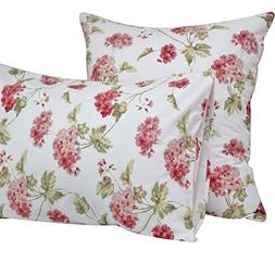 Queen's House Egyptian Cotton Floral Pillow Cases Standard Q