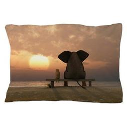 CafePress Elephant And Dog Friends Pillow Case