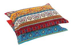 HNNSI Exotic Striped Bohemia Pillow Shams Queen Size 2 Piece
