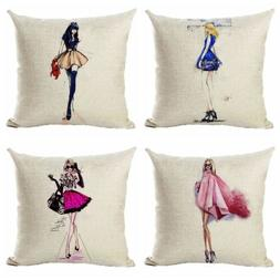 Fashionable City Women Couch Pillow Cases Square Cushion Cov