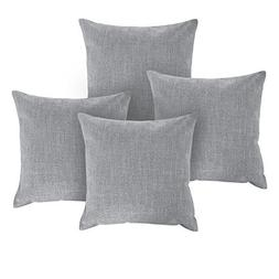 Deconovo Faux Linen Grey Throw Cushion Covers for Sofa Squar