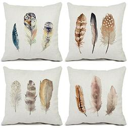 Set of 4 Feather Throw Pillow Covers Cotton Linen Standard S
