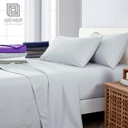 Fitted Flat Sheet Pillow Case Queen 4PC Light Grey Microfibe