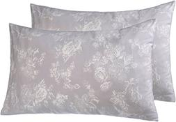 Pinzon 170 Gram Flannel Pillowcases - King, Floral Grey