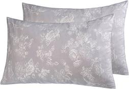 Pinzon 170 Gram Flannel Pillowcases - Standard, Floral Grey