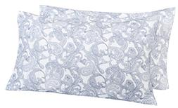 Pinzon 170 Gram Flannel Pillowcases - King, Navy Paisley