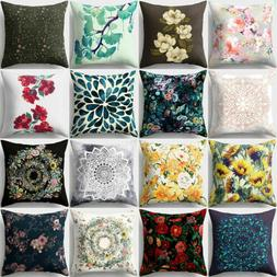 Floral Pattern Square Throw Pillow Cover Case Cushion Home S