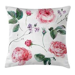Ambesonne Flower Decor Throw Pillow Cushion Cover, Shabby Ch