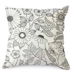 Flowers Graffiti Decorative Coloring Pillowcase, DIY Colorin