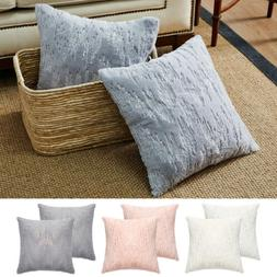 Fur Fluffy with Sequin Glitter Square Throw Pillow Case Sofa
