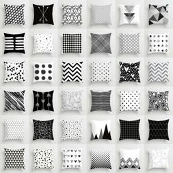Pillow Case 18'' Geometric Cushion Cover Black And White Pol