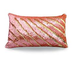 TRLYC 12x24-Inch Gold and Orange Mermaid Sequin Pillow Case