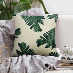 Green Leaves Printed Throw Pillow Case Cushion Cover Bedroom