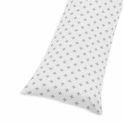 Sweet Jojo Designs Grey and White Swiss Cross Body Pillow Ca