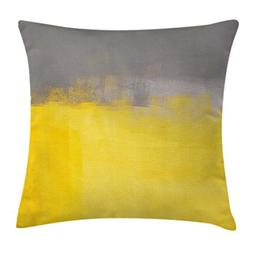 Ambesonne Grey and Yellow Throw Pillow Cushion Cover, Grunge