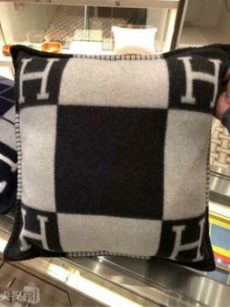 H Wool Cashmere Thick Throw Plaid Pillow Case Sofa Travel Ca