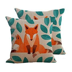 Key-Sunn Set of 2 Hand-Painted Cute Fox Cartoon Cushion Cove