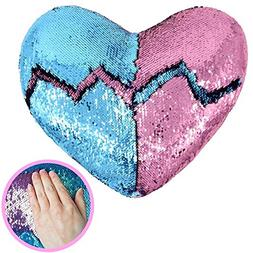 Heart Shape Sequin Pillow with Insert Mermaid Reversible Col