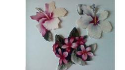"""Hibiscus Fabric Applique 5"""" x 6"""" iron Sew wall,pillow case,s"""
