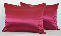 High Quality 2 Pieces of Hidden Zipper Satin Pillow Case, Mu