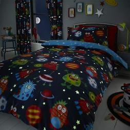 HLC Boys Girls Space Monsters Glow In The Dark Blue Duvet Co