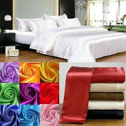HOTEL BEDDING 1000TC 3PC SATIN SILK FITTED SHEET & PILLOW CA