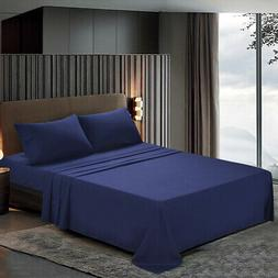 Htovila Flat Sheet Pillowcases Bed Cover Set Solid Color For