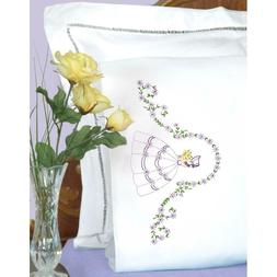 J DEMPSEY NEEDLE ART Pillow Case 2pc Stamped for Embroidery