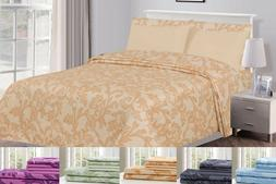 Kendall Printed 1800 Series Egyptian Comfort Bed Sheets Set