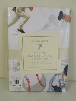 POTTERY BARN KIDS ORGANIC VINTAGE BASEBALL PILLOW CASE STAND