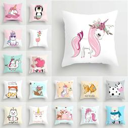 Kids Square Cushion Cover Pillow Case Sleep over Bed Home So