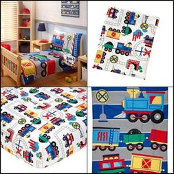 Kids Toddler Bedding Full Sets Trains Sheets Cover with Pill