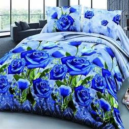 King Size 4x 3D Blue Rose Printed Bedding Set Quilt Cover Be