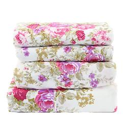 KING Size Sheet Set 4 Pc Floral Flat/Fitted/Pillowcases Purp