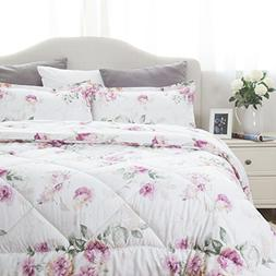 King Size Comforter Set Floral Pattern Design Down Alternati