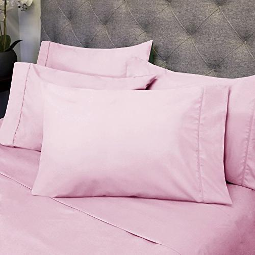 King Sheets - 6 Piece Thread Microfiber Pocket Sheet Set - 2 Extra Pillow Cases, Great Value, King, Pink
