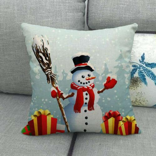 "18"" Snowman Winter Cojines Waist Pillow Case Sofa Car Lumbar Cover"