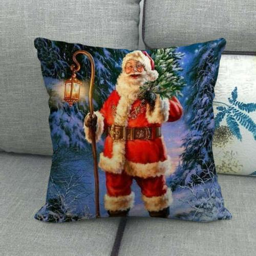 "18"" Snowman Waist Pillow Case Sofa Car Cushion Cover"