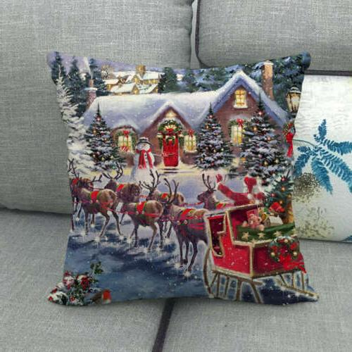 "18"" Snowman Winter Cojines Waist Pillow Sofa Car Lumbar Cover"
