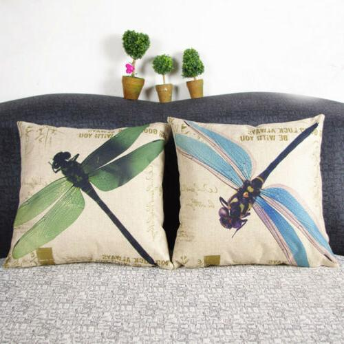 18x18 vintage dragonfly cotton linen cushion cover